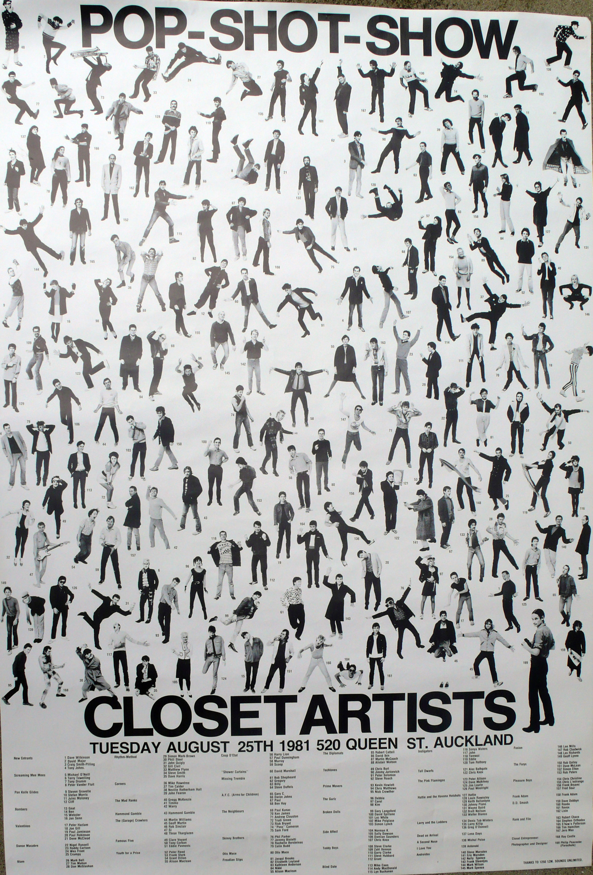 CLOSET ARTISTS POP SHOTS POSTER 1980